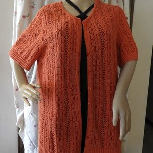 Size 2X Orange Crocheted CJ Banks Cardigan